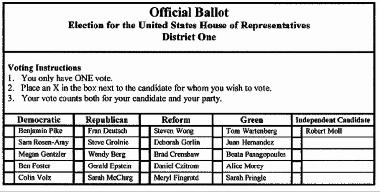 Sample OLPR ballot